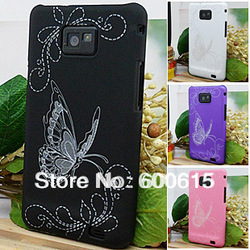Butterfly Laser Ingraving Rubber Case Back Cover For Samsung Galaxy S2 i9100 free shipping sample(China (Mainland))