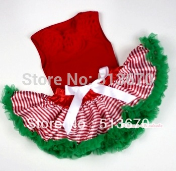 Red Baby Pettitop &Red Rosettes with Red White Striped mix Christmas Green Newborn Pettiskirt MANG1066