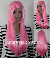 New Beautiful Pink Hair Anime Long straight Cosplay Wigs(Free Shipping) more style for you choose