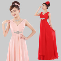 EMS free shipping new arrival V-neck long dress chiffon bridesmaid evening dress fashion 2013 summer wholesale customize