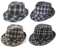 Black Plaid Fashion Fedora Hats Adult Stingy Brim Caps Classical Jazz Hat Cap Mix 4 designs
