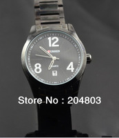 Sport Black Quartz Hours Date Display Men's Wrist Watch, Adjustable Stainless Steel Watchband