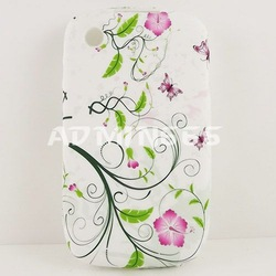 Green Spring/Small Flower/Butterfly TPU Gel Case Cover Skin For Blackberry Curve 8520(China (Mainland))