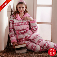 Free Shipping  orchid fairy winter cotton-padded sleepwear thickening 8803