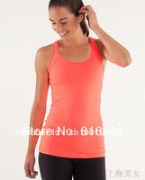 lulu  tanks Lady Sport Athletic casual yoga vest tanktops wear Women's vest fashionable popular orange color
