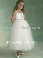 Free Shipping Sleeveless Spaghetti Strap A line Tulle layers Cute Beaded Long Flower girls dresses B22