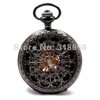 20PCS A LOT Luxury Roman Number Wind Up Men's Mechanical Pocket Watch With Necklace Chain H117