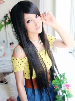 Black Long Straight Wigs  hair nets   Free shipping(NWG0LO60514-BL2)