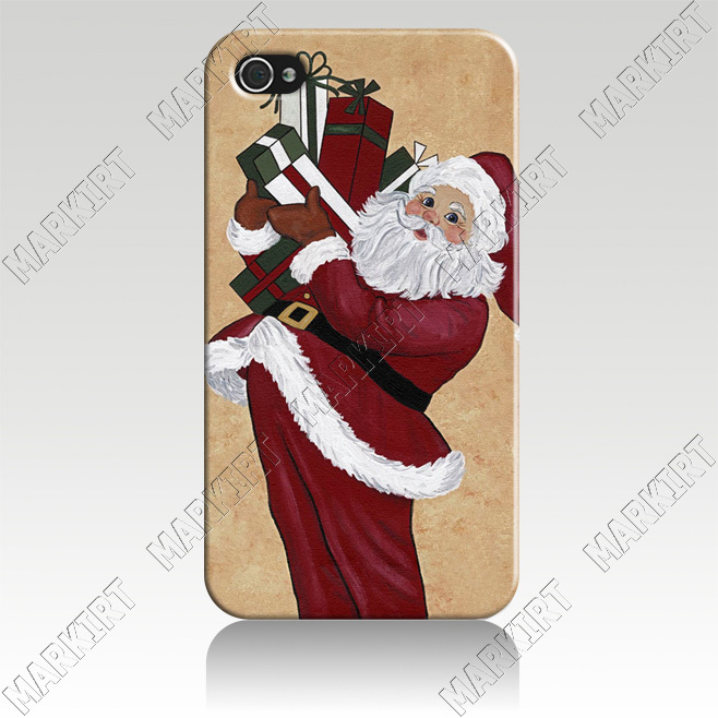 IZC1848 Christmas Santa Claus Hard plastic Cover Case For Iphone 4 4s Wholesale 10 pcs/lot Free Shipping to US(China (Mainland))
