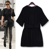 Europe Style Fashion autumn and winter plus size woman dresses new arrival victoria mid- sleeve woolen one-piece black dress