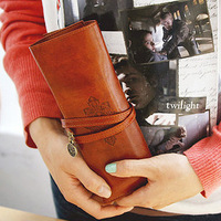 Vintage leather exquisite straps folding pencil cosmetic bag photography props novelty items