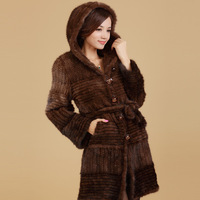 2012 fashion women noble and elegant outwear fur coat mink outerwear women's long design overcoat cap