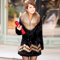 fashion women noble and elegant fur coat 2012 winter medium-long female raccoon fur rabbit fur