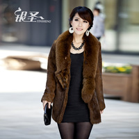 Silver 2012 winter slim fox rabbit fur coat medium-long female