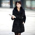2012 winter rabbit fur rabbit women coat wife christmas gift best hair fur coat fox fur female slim long design