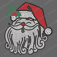Free Shipping 30pcs/Lot  Iron On Santa Claus Christmas Rhinestone Transfers Custom Design Available