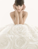 White Rose Flowers Wedding Dress Bride Prom Gown Size:Custom