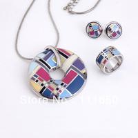 Free Shipping! Lattice Pattern Enamel Jewelry Set(Necklace, Earring, Ring), 1 set/pack