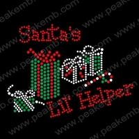 Free Shipping 30pcs/Lot Santa's Lil Helper Bling Christmas Iron On Rhinestone Transfers Motif Custom Design Available