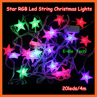 Free Shipping! 2pieces/lot 110~220V Star RGB Led String Christmas Lights 4m 20 for Holiday/Party/Home Decoration