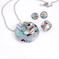 Free Shipping! Multicolor Geometric Patterns Enamel Jewelry Set(Necklace, Earring, Ring), Min 1 Set
