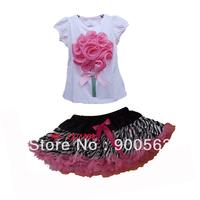zebra hot pink flower shirt,wholesale zebra pettiskirt,girls zebra print skirt dress