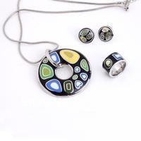 Free Shipping! Hot Selling Enamel Jewelry Set(Necklace, Earring, Ring), Min 1 Set