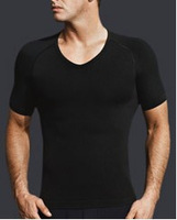 male men's posture correction v neck slimming shirt BODY SCULPTING SHAPER T-SHIRT SHORT SLEEVE