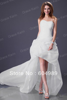 Grace Karin Long Train Organza Bridal White, Ivory Wedding Dress Evening Gown, 2013 Popular CL3121
