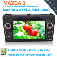 For Mazda 3 Hot 7'' Car DVD GPS Player with IPOD TV Bluetooth Radio CANBUS Steering wheel control Dual Zone Touch Screen USB SD