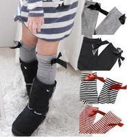 Solid white black white red striped baby girl kids knee high princess boot socks, child leg warmer long socks