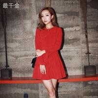Fashion women's autumn red one-piece dress knee-length dress for  women