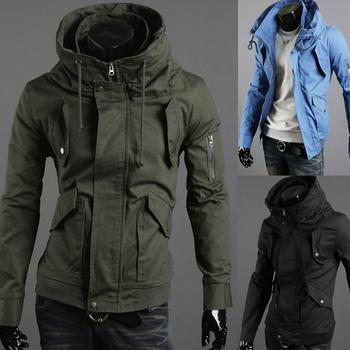 Free shipping 2014 new arrival Zipper fashion men turtleneck slim casual hooded jacket outerwear men's hoodies sizeM-L-XL-XXL