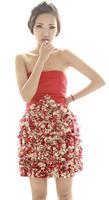 Bride evening dress bridesmaid dress star style pink petal dress knee-length dress for  women
