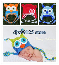 1pcs/lot Handmade Knitted Crochet Baby Hat owl hat Monkey Hat Angel Kitty Hat Honey Bear hat Bunny Ears Hat(China (Mainland))