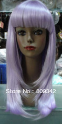 New long light purple human made hair straight wig(China (Mainland))