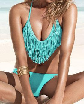 Fashion Sexy Summer V neck Fringe Top Bikini Padded Boho Tessels Bra Beachwear Swimsuit Swimwear SML Free Shipping Free Shippng
