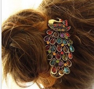 Free shipping (mix order 10$)B0002 vintage elegant gorgeous peacock hairpin duckbill clip banana clip hair accessory(China (Mainland))