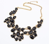 Europe Chic Lady Gift Fashion BLACK Resin Geometric Pendant Choker Bib Necklace Wholesale 93188 Free Shipping