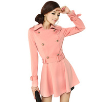 Turn-down collar double breasted trench women's trench 2012 slim belt trench dress