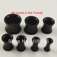 140pcs/lot black Color No Screws Ear Plug UV Acrylic Flat Horn flesh tunnel body jewelry mixed 7 sizes