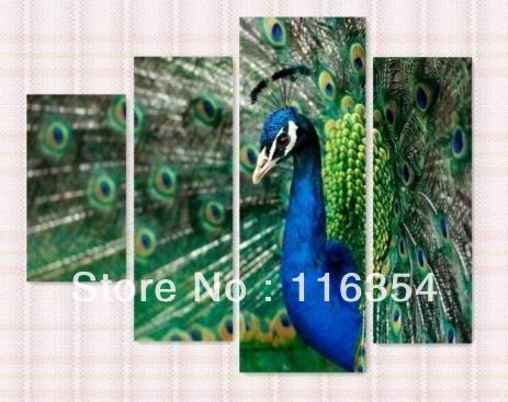 c50232 livram o óleo Hand-painted internacional na pintura a óleo moderna 4pc/Set do realismo do pavão da decoração do repouso da arte da lona