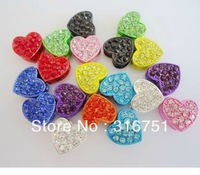 Lose Money Sale Shamballa heart-shaped Crystal Beads For DIY Disco Ball Bracelets 80pcs/lot Mix Color Free Fit Xmas Gift