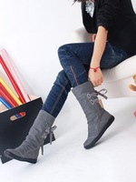 Free shipping in barrel pure color round head rubber sole snow boots female black yellow grey size: 34-43 code