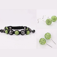 Brand New Shamballa Jewelry Sets 10mm Green CZ Crystal Beads Ball / Bracelet/Earrings Sets 925 Silver Jewelry Free Shipping