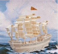 Free shipping ---Ancient wooden ship simulation three-dimensional puzzle DIY educational toys