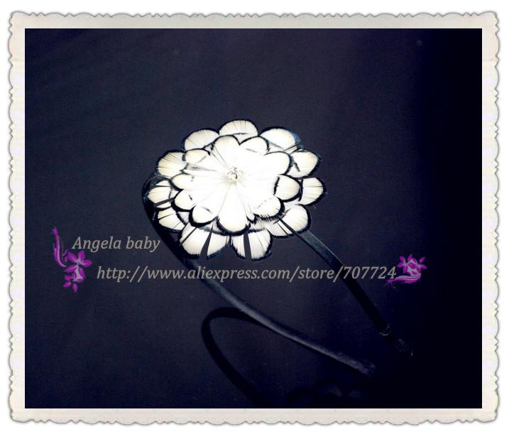 feather original hair fascinator flower headband white free shipping 10pcs/lot(China (Mainland))