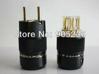 SONARQUEST Gold Plated EUR Schuko EU Power Plug & IEC Connector plug (Black) hifi sonar plug highend