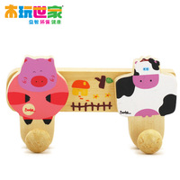 Child real wooden toys storage cartoon double rack by9459 FREE SHIPPING