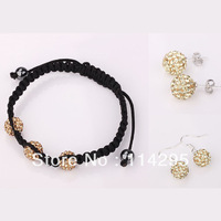 Champagne Shamballa Jewelry Sets 10mm CZ Crystal Beads Ball / Bracelet/Earrings Sets 925 Silver Jewelry Free Shipping Mix Color